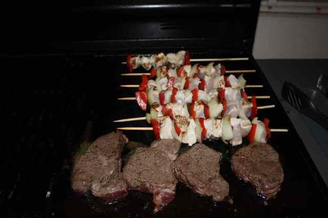 chicken kebabs and steak