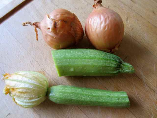 courgettes and onions
