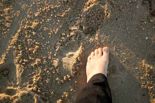 foot on Dicky Beach