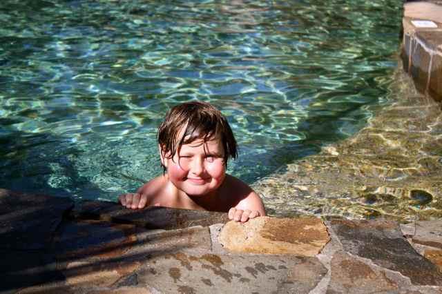 Harvey in pool
