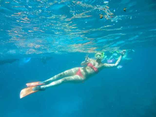 Lara snorkelling