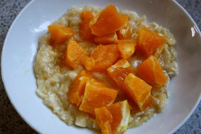 mashed banana and orange