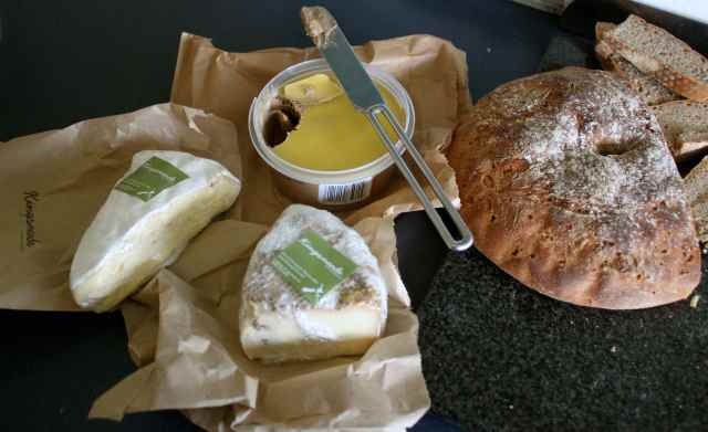 pate, bread and cheese