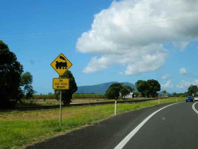 sugar cane train track sign