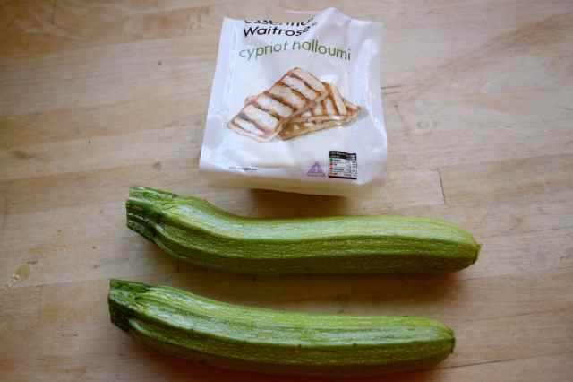 courgettes and halloumi in packet