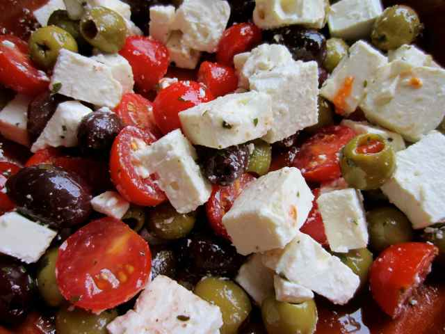 olives, Feta and toms