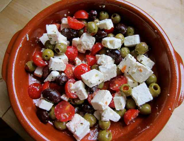 olives, toms and Feta