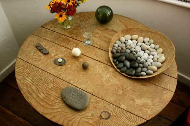 pebbles on table