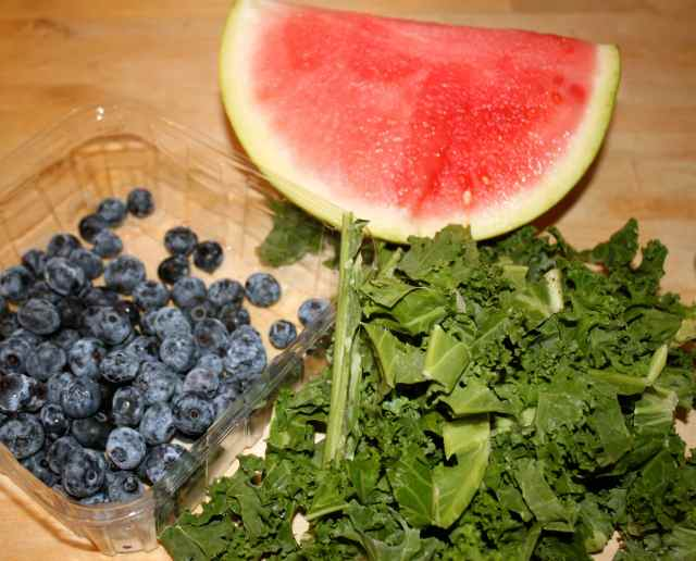 watermelon, kale and blueberries