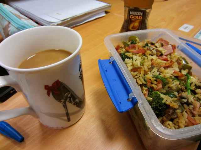 breakfast on desk