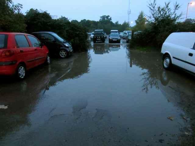 flooded car park