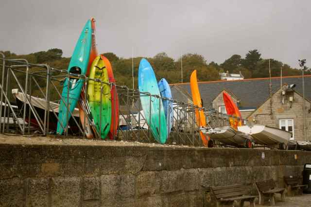 kayaks at Lyme Regis