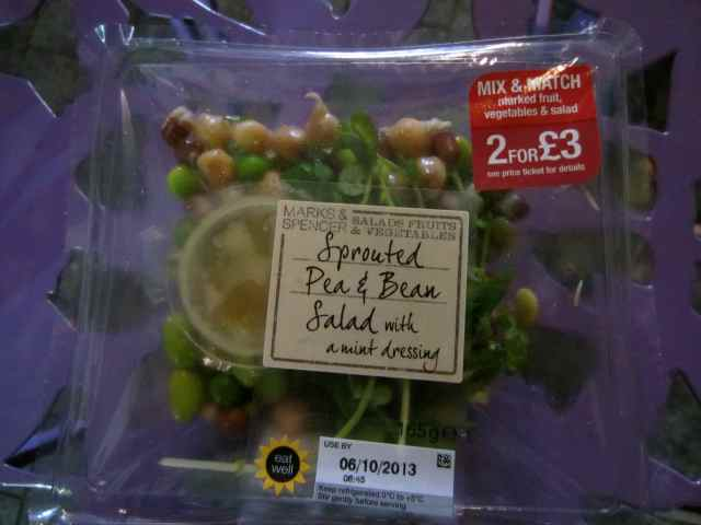 M&S sprouted pea and bean salad