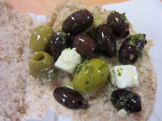 Olive and feta bap