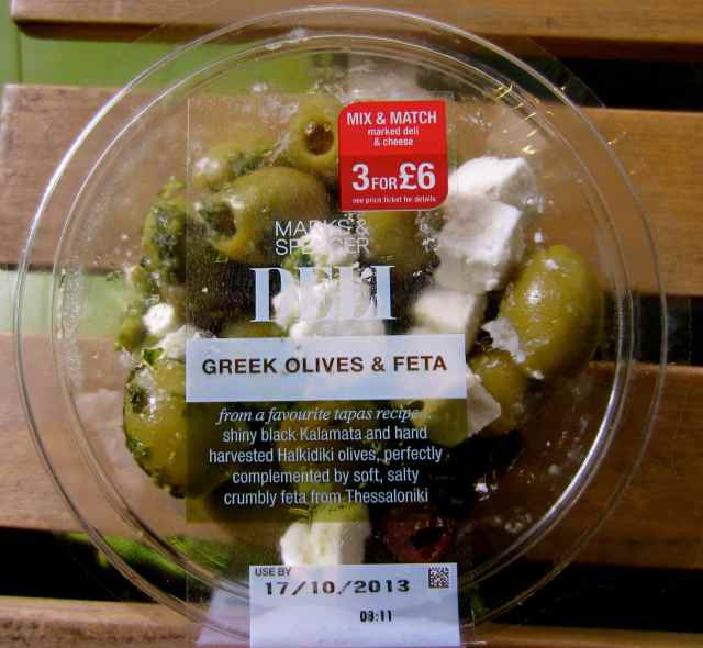 olives and feta in tub