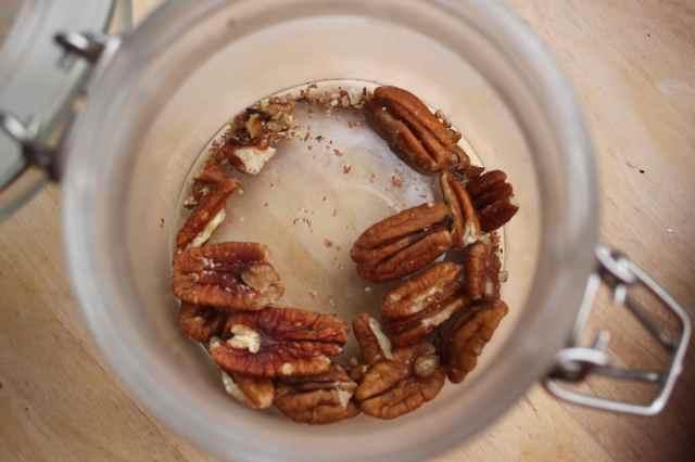 pecans in glass jar