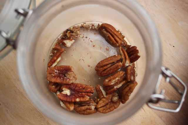 pecans in glass jar
