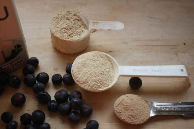 powders and blueberries