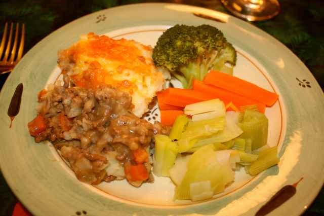 shepherd's pie and veg