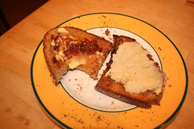 Toast with Marmite and Macadamia nut butter
