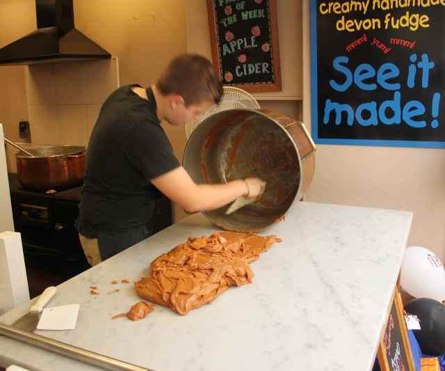 Watching fudge being made
