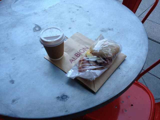 Albion breakfast bap and latte