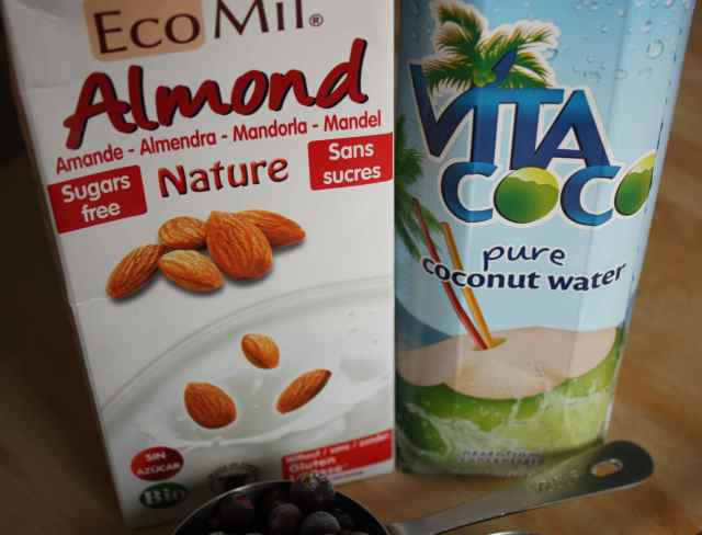 almond milk and coconut water