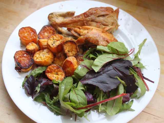 chicken potatoes and salad