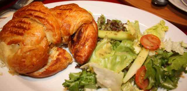 croissant with salad