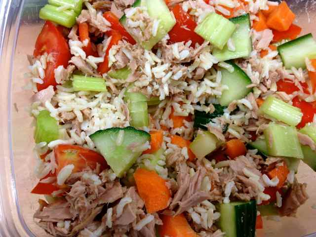 tuna rice and salad lunch