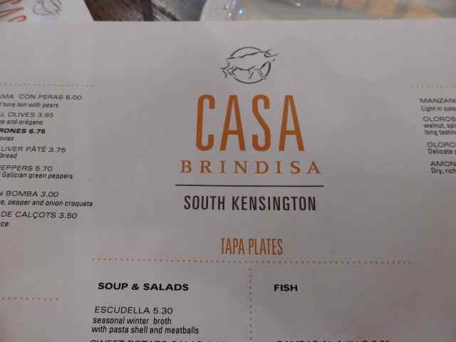 Casa Brindisa menu