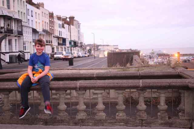 Harvey on wall in Ramsgate
