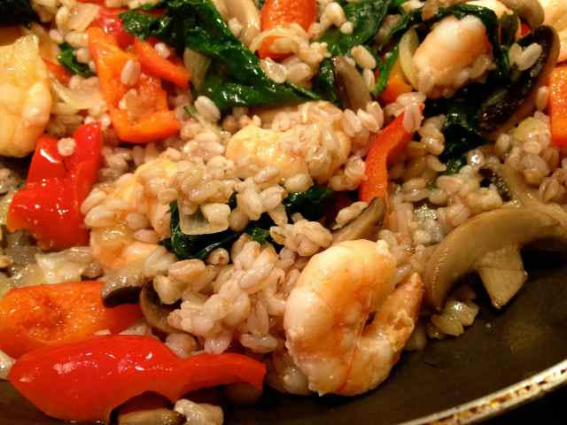 prawns and pearled spelt