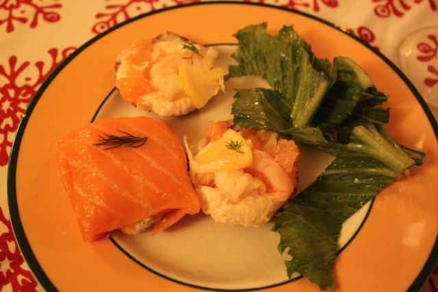 seafood starter on Boxing Day