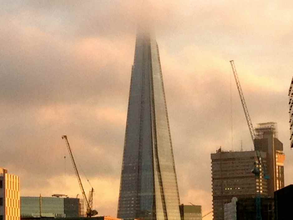 Shard in clouds