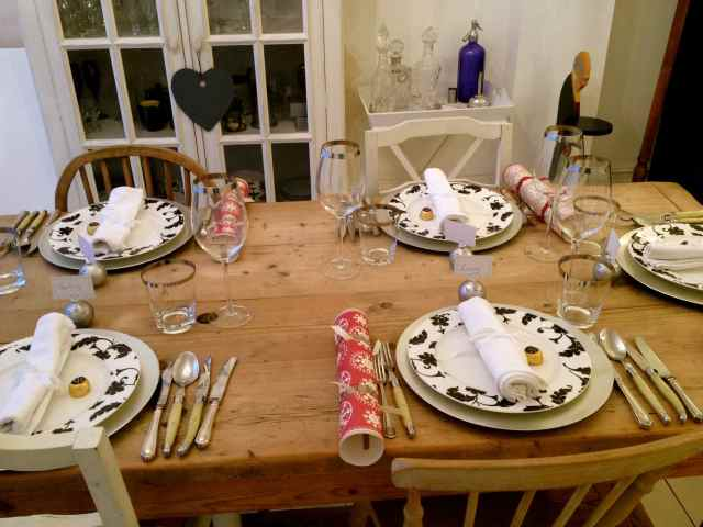 Table laid for supper