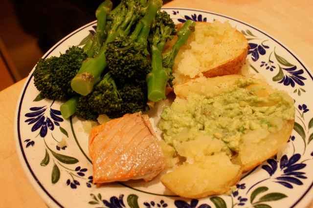 baked potato, salmon