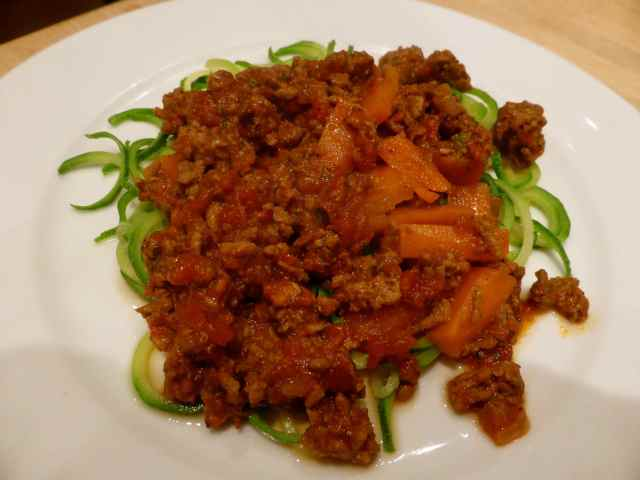 Bolognaise and courgette