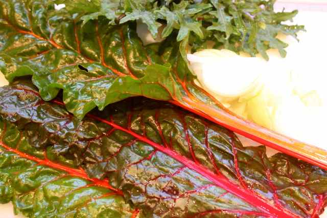 chard and onions