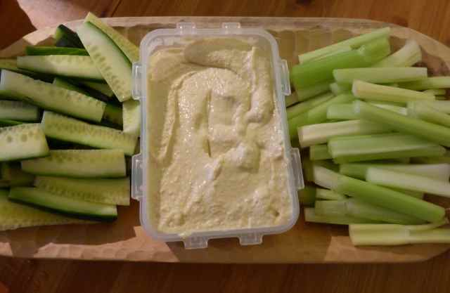cucumber, celery and humous