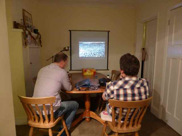 Jim and Richard watching footie