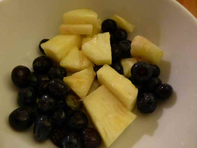 pineapple and blueberries