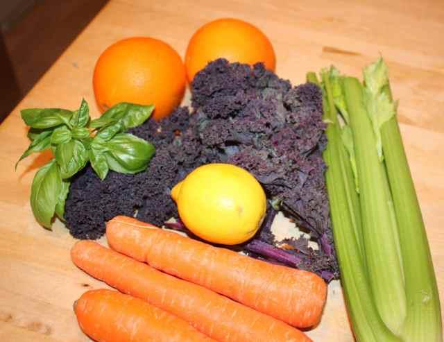 purple kale and veg