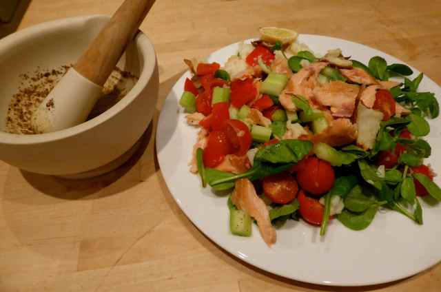 salmon salad and dressing