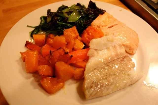Sea Bass, salmon and veggies
