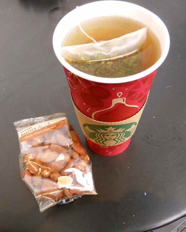 spearmint tea and almonds