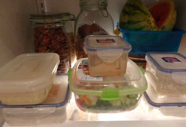 Tupperware boxes in fridge