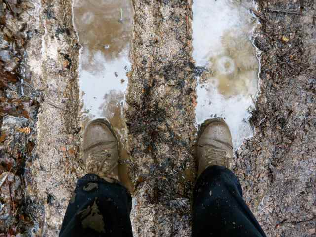 wet and muddy boots