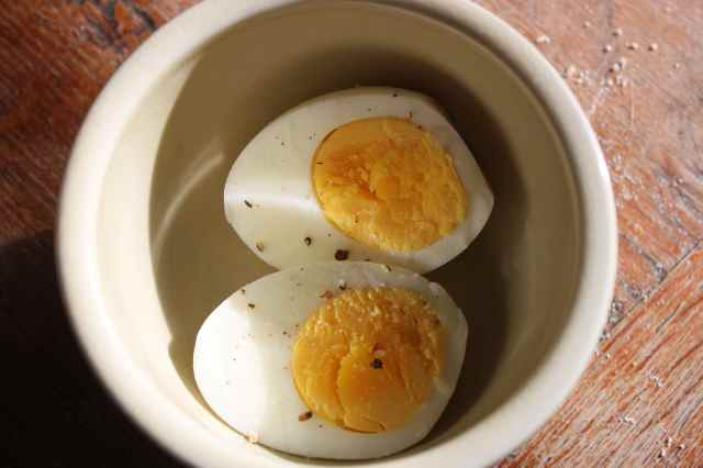 Boiled egg in pot