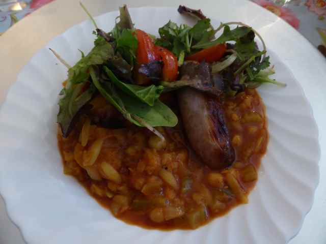 butternut sausage and salad